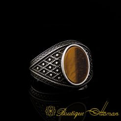 Micro Detailed Tiger's Eye Silver Ring-1