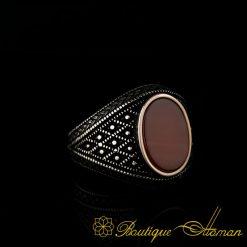 Micro Detailed Yemeni Aqeeq Silver Ring-0