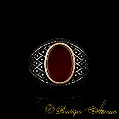 Micro Detailed Yemeni Aqeeq Silver Ring-2