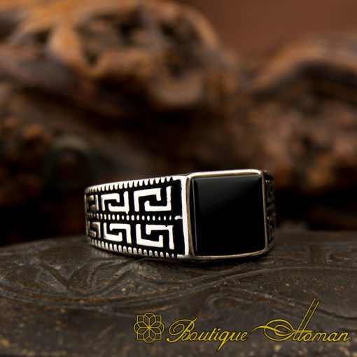 Pinky Finger Square Onyx Ring-1