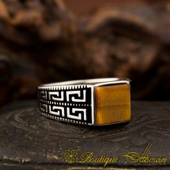 Pinky Finger Square Tiger's Eye Ring-1