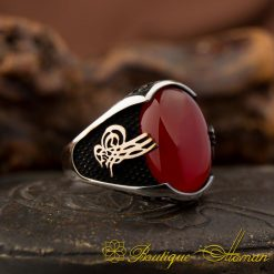 Red Agate Silver Ring With Tughra-1
