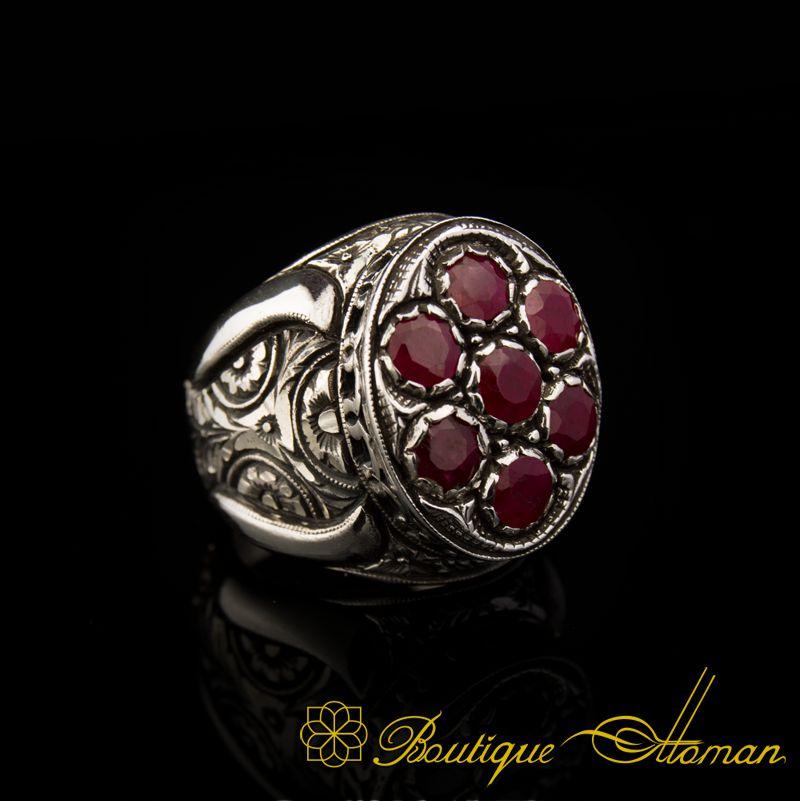 Sterling Silver 925 Ruby Zircon Handmade Ring Ottoman Style Ring Silver 925 Ring Silver Ring Ruby Ottoman Style Ring