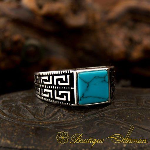 Square Feroza Pinky Finger Ring - 1