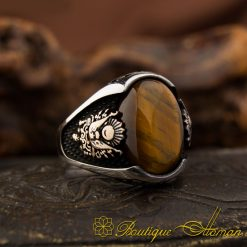 Tigers Eye Ring With Coat Of Arms
