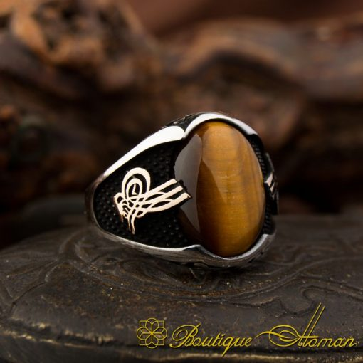 Classy Gentle Tiger's Eye Men Ring With Tughra