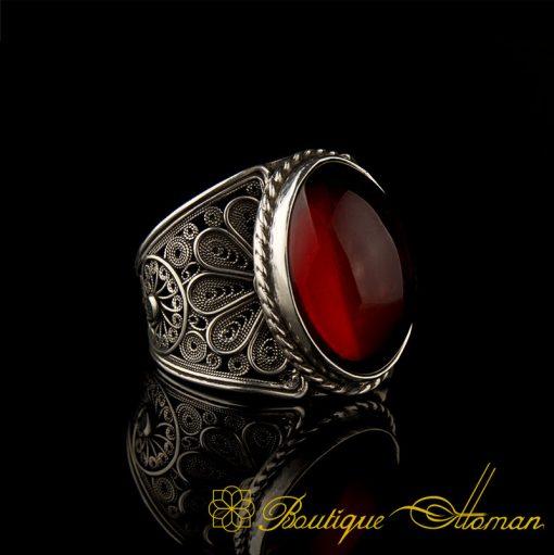 Filigree Amber Silver Handmade Ring