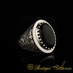 Savoy Collection Onyx Hand Engraved Ring