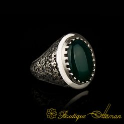 Savoy Collection Green Aqeeq Hand Engraver Silver Ring -1