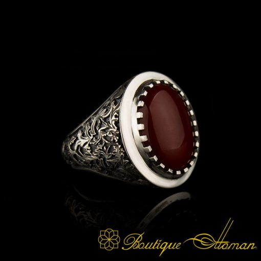 Savoy Collection Red Aqeeq Hand Engraver Silver Ring-1