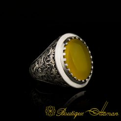 Savoy Collection Yellow Aqeeq Hand Engraved Ring