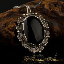 Filigree Handmade Black Aqeeq Silver Pendant