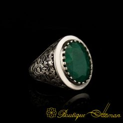 Savoy Collection Emerald Hand Engraver Silver Ring-1