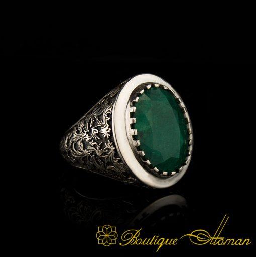 Savoy Collection Emerald Hand Engraver Silver Ring-1