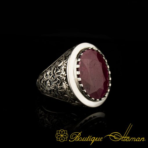 Savoy Collection Ruby Hand Engraver Silver Ring-1