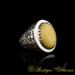 Savoy Collection Yellow Amber Hand Engraver Silver Ring-1