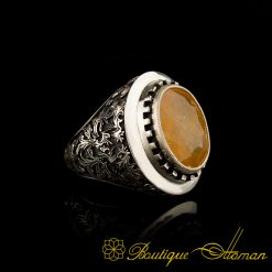 Savoy Collection Yellow Sapphire Hand Engraver Silver Ring-1