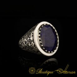 blue sapphire hand engraved silver men ring