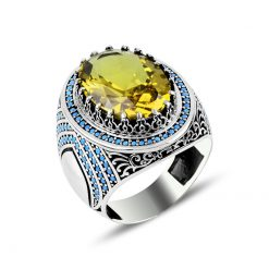 Silver Zultania Turquoise Ring-Yellow