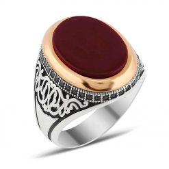 Zircon and Red Liver Aqeeq Silver Men Ring
