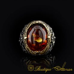 Classic Amber Silver Men Ring-2