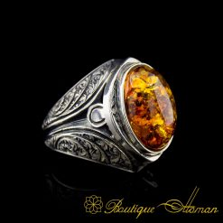 Amber Hand Engraved Handmade Silver Men Ring