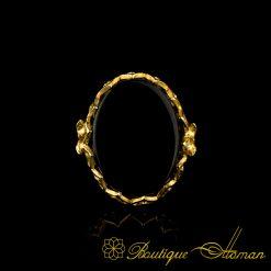 Black Aqeeq Gold Plated Women Ring-2
