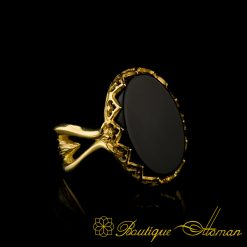 Black Aqeeq Gold Plated Women Ring-2
