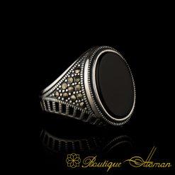 Black Onyx and Marcasite Designer Ring-1