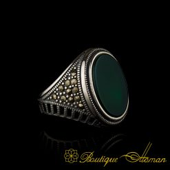 Green Aqeeq and Marcasite Designer Ring-1