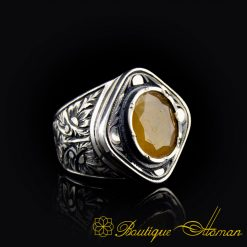 Pukhraj Ratna - Yellow Sapphire Hand Engraved Silver Ring