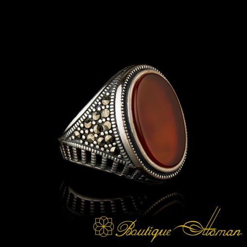 Red Yemeni Aqeeq and Marcasite Designer Ring