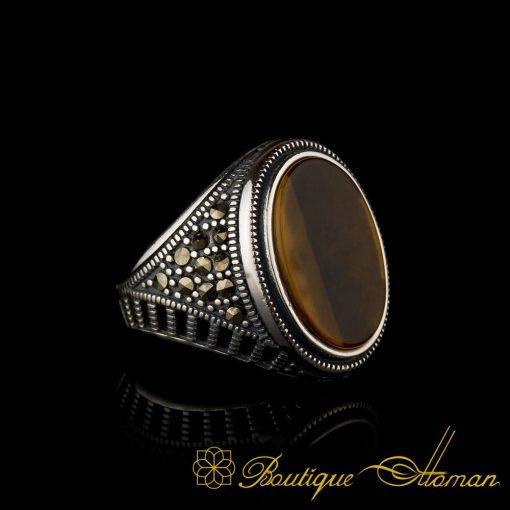 Tiger's Eye Marcasite Designer Silver Men Ring