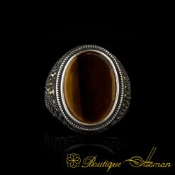 Tiger's Eye Marcasite Designer Silver Men Ring