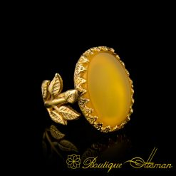 Yellow Aqeeq Gold Plated Hand Made Women Flower Ring