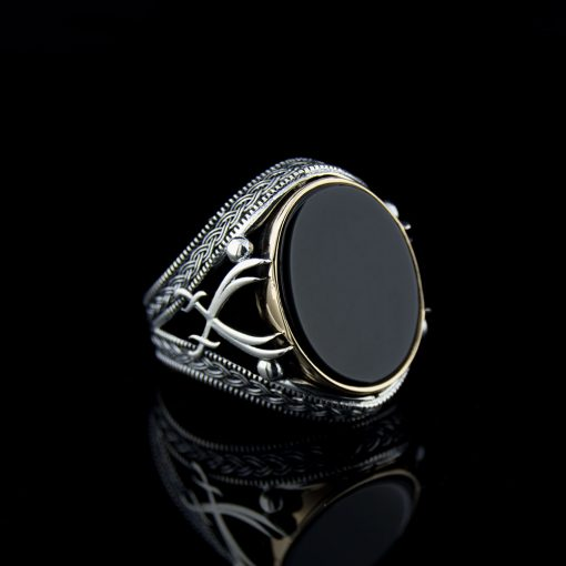 Black Aqeeq Stone Silver Ring with Double Swords Figure-1