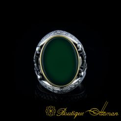 Green Aqeeq Stone Silver Ring with Double Swords Figure