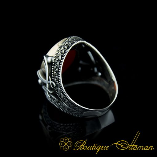 Red Aqeeq Stone Silver Ring with Double Swords Figure