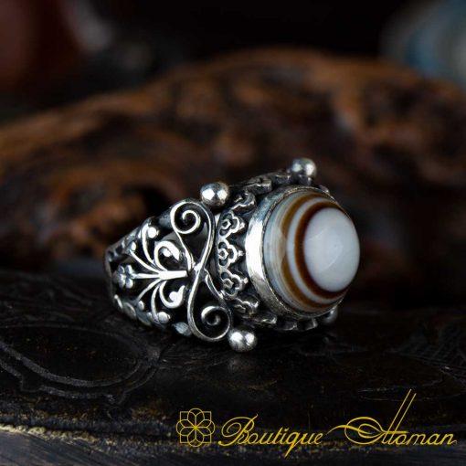 Sulemani Aqeeq Stone Traditional Handmade Ring - SL0005
