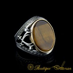 Tiger's Eye Silver Ring with Double Swords Figure