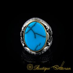 Turquoise Stone Silver Ring with Double Swords Figure