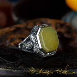 Octagon Collection Yellow Amber Hand Engraved Ring