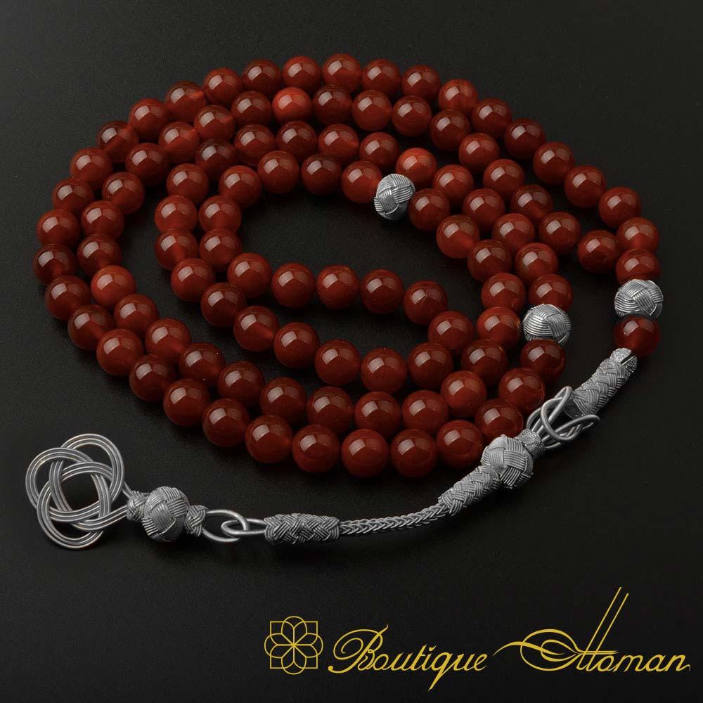 Red-Liver-Yemeni-Aqeeq-99-Beads-Tasbeeh-Misbaha-Prayer-Beads-Rosary