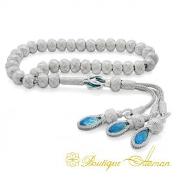 Hand Made Knitted Tasbih White Grey With Blue Zircon Stone