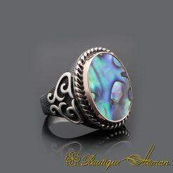 Abalone Silver Men Ring
