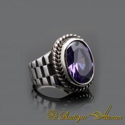 Amethyst Handcraft Silver Men Ring