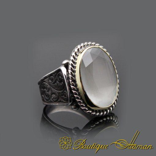 Cat's Eye Hand Engraved Silver Men Ring