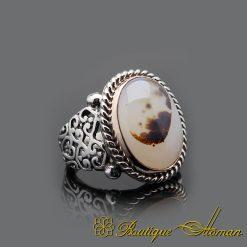 Handmade Rare Yemeni Aqeeq Silver Men Ring