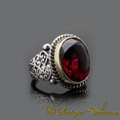 Handmade Red Garnet Silver Men Ring