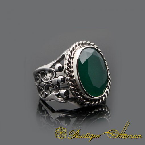 Handmade Root Emerald Silver Men Ring